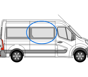 Renault Master 2010> O/S/F Opener Window in Privacy Tint (MWB,LWB,ELWB)