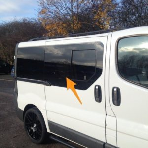 Vauxhall Vivaro O/S/F Opening Window in Privacy Tint **FOR SLIDING DOOR - RARE*