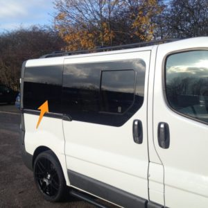 Nissan Primastar O/S/R (Rear) Fixed Window in Privacy Tint SWB *FOR SLIDING DOOR - RARE*