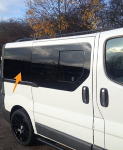 Renault Trafic O/S/R (Rear) Fixed Window in Privacy Tint LWB *FOR SLIDING DOOR - RARE*