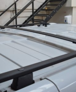 Renault Trafic x82 2014> Black Aluminium Roof Rails and Cross Bars Set (LWB)