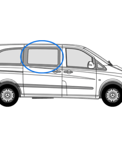 Mercedes Vito 2014> O/S/F Sliding Window in Privacy Tint (Fits All Wheelbases)